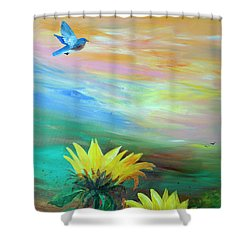 Bluebird Flying Over Sunflowers Shower Curtain by Robin Maria Pedrero