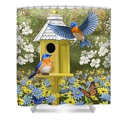Bluebird Garden Home Shower Curtain by Crista Forest