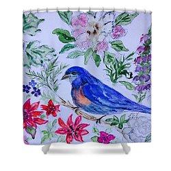 Bluebird In A Garden Shower Curtain