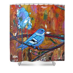 Bluebird In Autumn Shower Curtain