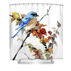Bluebird In The Fall Shower Curtain