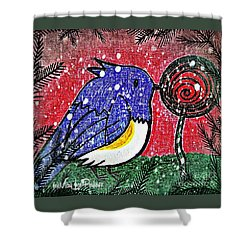 Bluebird Of The Season Shower Curtain by MaryLee Parker