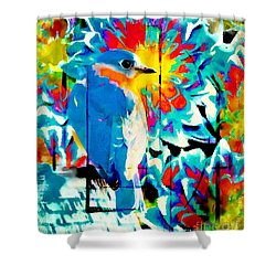 Bluebird Pop Art Shower Curtain