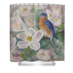 Bluebird Vignette Shower Curtain