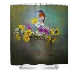 Bluebird With Bucket Of Flowers Shower Curtain