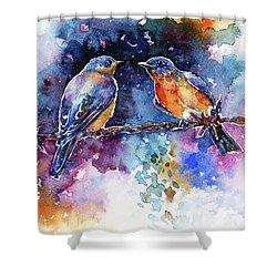 Shower Curtain featuring the painting Bluebirds by Zaira Dzhaubaeva