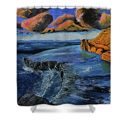 Blue,blue Ocean With Clouds Shower Curtain