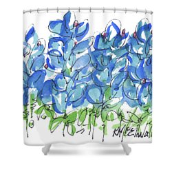 Bluebonnet Dance Watercolor By Kmcelwaine Shower Curtain