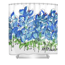 Bluebonnet Dance Whimsey,by Kathleen Mcelwaine Southern Charm Print Watercolor, Painting, Shower Curtain by Kathleen McElwaine
