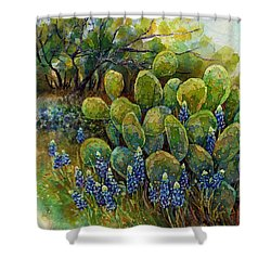Shower Curtain featuring the painting Bluebonnets And Cactus 2 by Hailey E Herrera