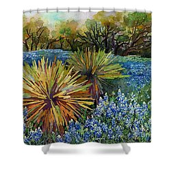 Shower Curtain featuring the painting Bluebonnets And Yucca by Hailey E Herrera