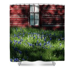Shower Curtain featuring the photograph Bluebonnets In The Shade by David and Carol Kelly