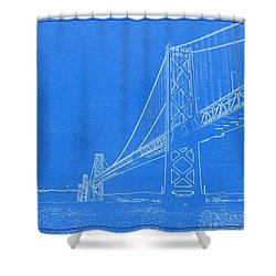 Blueprint Of Suspension Bridge Shower Curtain