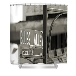 Blues Alley Street Sign Shower Curtain