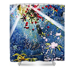 Blues And Berries Shower Curtain
