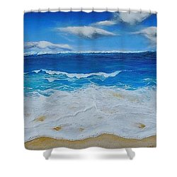 Blues And Foam Shower Curtain