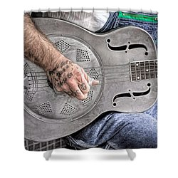 Blues And Tattoos Shower Curtain by Marion Johnson