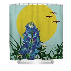 Blues Bees Shower Curtain