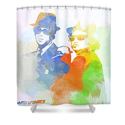 Blues Brothers Shower Curtain by Naxart Studio