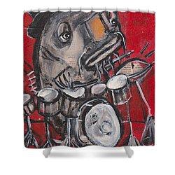 Blues Cat Drums Shower Curtain