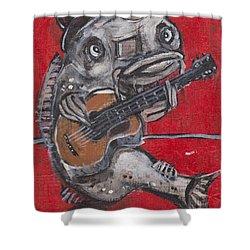Blues Cat On Guitar Shower Curtain