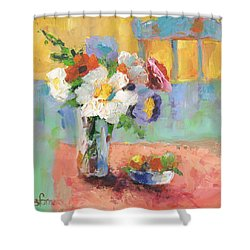 Blues Chair Shower Curtain by Sharon Furner
