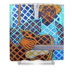 Shower Curtain featuring the painting Blues Guitar - Nine Strings by Denise Weaver Ross