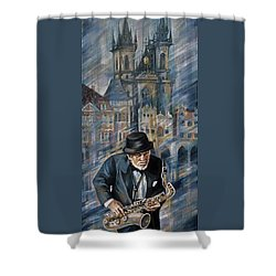 Blues Of Prague. Shower Curtain
