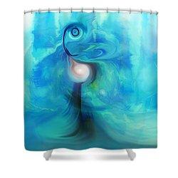 Shower Curtain featuring the digital art Bluescape by Linda Sannuti