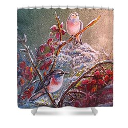 Shower Curtain featuring the painting Bluethroat On The Tundra/ #3 by PS Mitchell