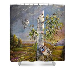 Shower Curtain featuring the painting Bluethroat On The Tundra by Patricia Schneider Mitchell