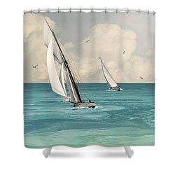 Bluewater Cruising Sailboats Shower Curtain
