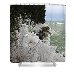 Shower Curtain featuring the photograph Blustery Lake Michigan Day by Greta Larson Photography