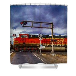 Bnsf 7682 Crossing Shower Curtain by Bartz Johnson