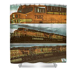 Bnsf 7682 Triptych  Shower Curtain