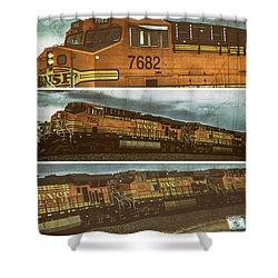 Shower Curtain featuring the digital art Bnsf 7682 Triptych  by Bartz Johnson