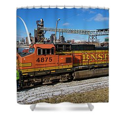 Bnsf Locomotive In Front Of The St Louis Arch Shower Curtain by Garry McMichael