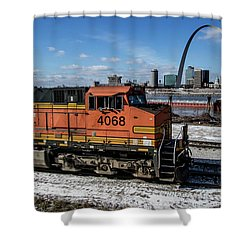 Bnsf Locomotive Passing By The Arcj Shower Curtain by Garry McMichael