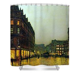 Boar Lane Shower Curtain by John Atkinson Grimshaw