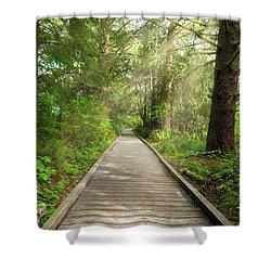 Boardwalk Along Hiking Trail At Fort Clatsop Shower Curtain