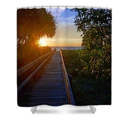Sunset At The End Of The Boardwalk Shower Curtain