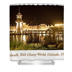 Boardwalk At Night, Walt Disney World Shower Curtain