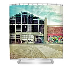 Shower Curtain featuring the photograph Boardwalk Casino - Asbury Park by Colleen Kammerer