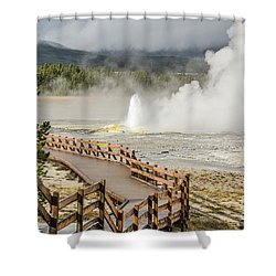 Shower Curtain featuring the photograph Boardwalk Overlooking Spasm Geyser by Sue Smith
