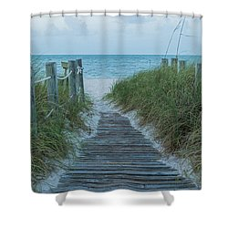 Shower Curtain featuring the photograph Boardwalk To The Beach by Kim Hojnacki