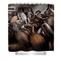 Boat - Block And Tackle  Shower Curtain by Mike Savad