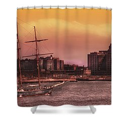 Boat - Ny - The Clipper  Shower Curtain by Mike Savad