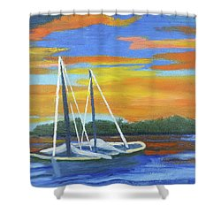 Boat Adrift Shower Curtain