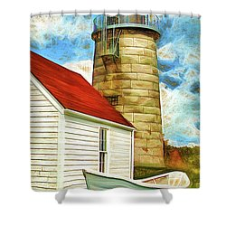 Boat And Lighthouse, Monhegan, Maine Shower Curtain by Dave Higgins