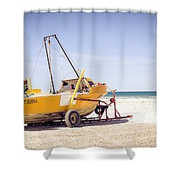 Shower Curtain featuring the photograph Boat And The Beach by Silvia Bruno